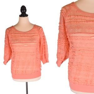 Coral Orange Pink XL Sheer Lace Floral Ruffle Top